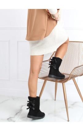 Žieminiai batai su kaspinėliais  B195-1j juodi